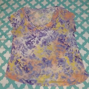 Cowlneck Blouse with Colorful Print